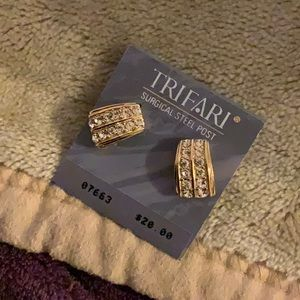 Gold Trifari Pierced Earrings